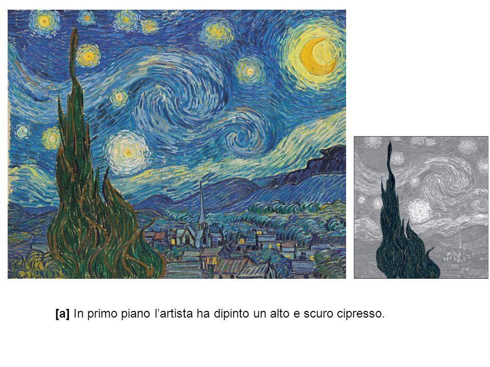 [a] In primo piano l'artista ha dipinto un alto e scuro cipresso.